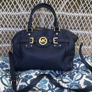 Michael Kors Navy Leather Satchel Bag
